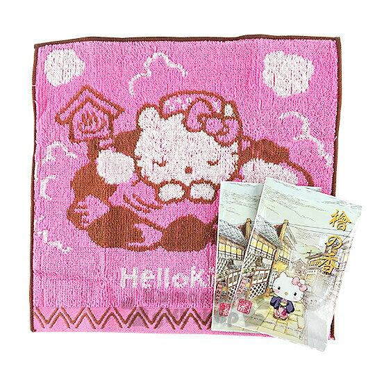 〔小禮堂〕Hello Kitty 小方巾《粉.泡溫泉.25x25cm》純棉舒適.附入浴劑