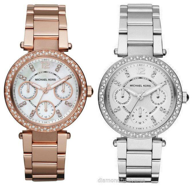 美國Outlet正品代購 MichaelKors MK  銀色陶瓷 水鑽 三環 手錶 腕錶 MK5615 1
