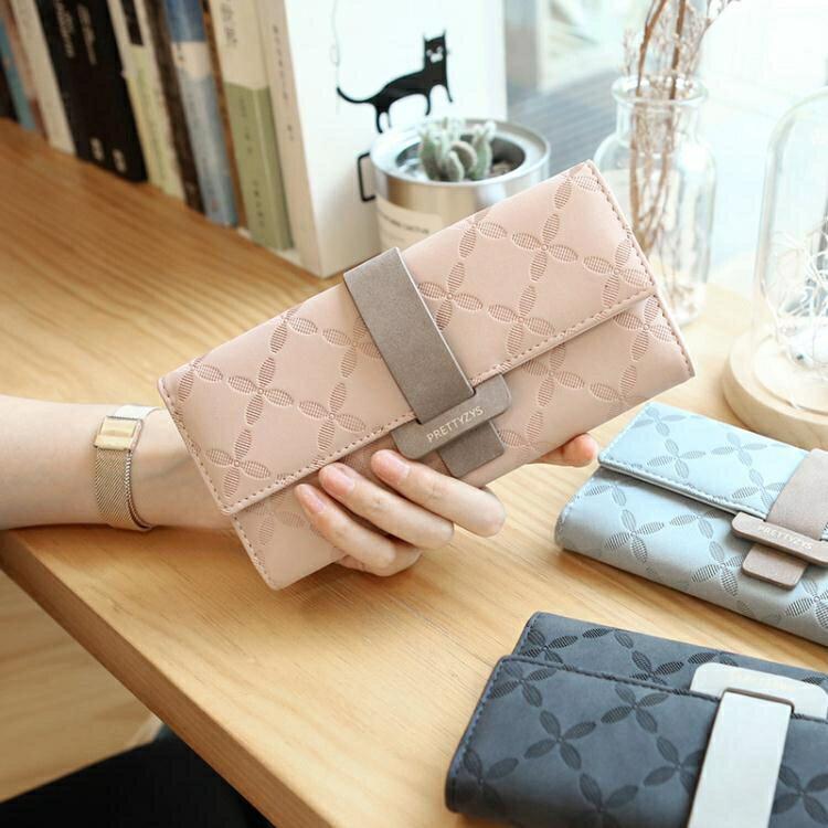 凡元素韓版新款長款女士錢包撞色搭扣簡約大容量多卡位錢夾手拿包