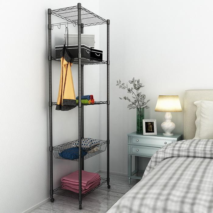 5-Tier Steel Shelving 71inch Height with Wheels 0
