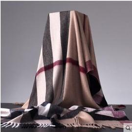 wy618羊毛格子駝色芳舞之韻 男女通用100%羊毛子駝色厚款保暖圍巾