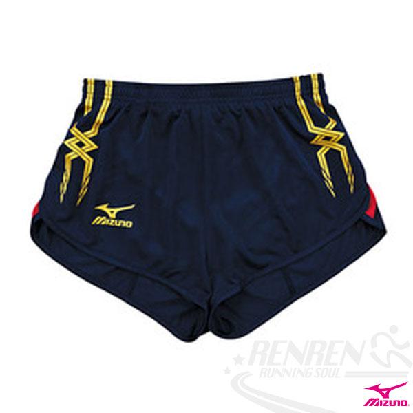 MIZUNO美津濃女 田徑服短褲(丈青*紅) 超輕量 飄飄褲 運動短褲