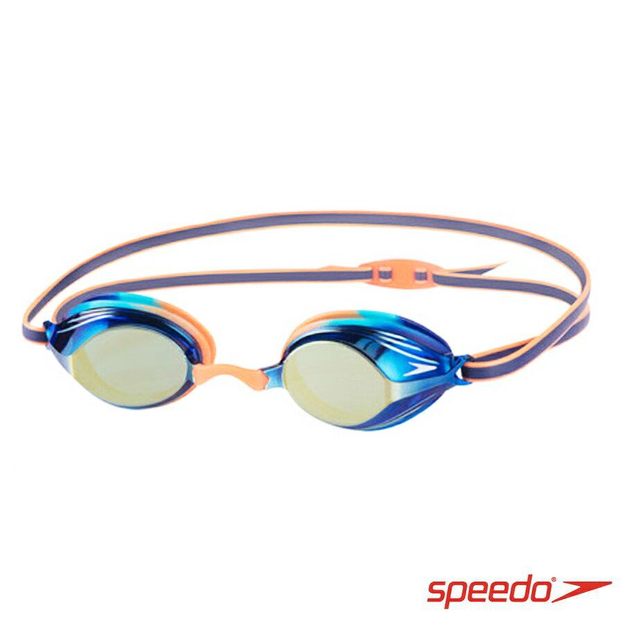 ║speedo║兒童競技鏡面泳鏡 VENGEANCE MIRROR藍橘