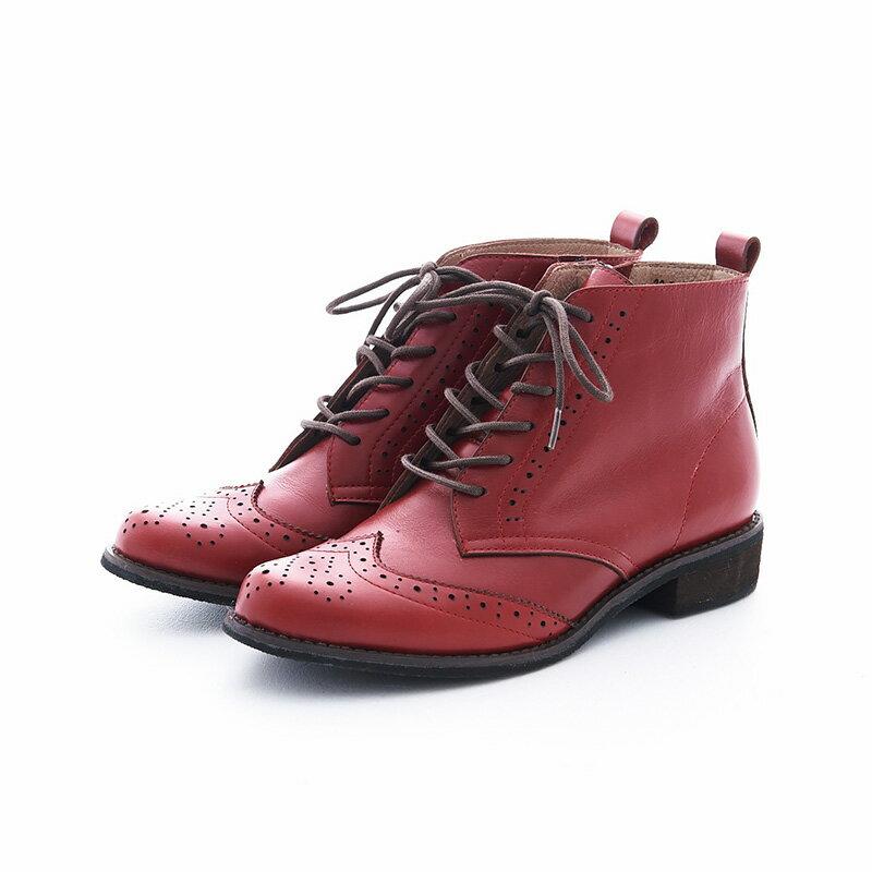 【B2-16819L】真皮綁帶牛津短筒靴_Shoes Party 8