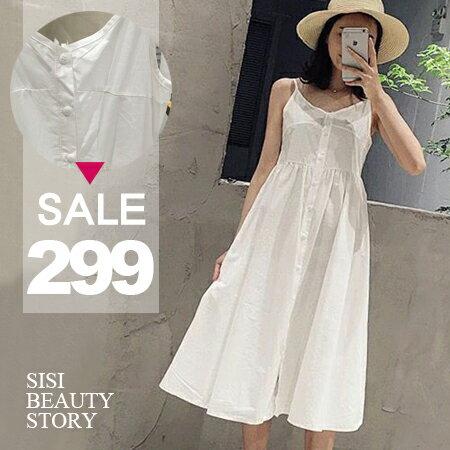 SISI~D6167~休閒清新簡約渡假風細肩吊帶修身中長款舒適棉麻連身裙洋裝