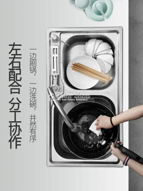 廚房304不銹鋼水槽雙槽套餐加厚洗菜盆一體成型水池家用單洗碗池 快速出貨 YYP