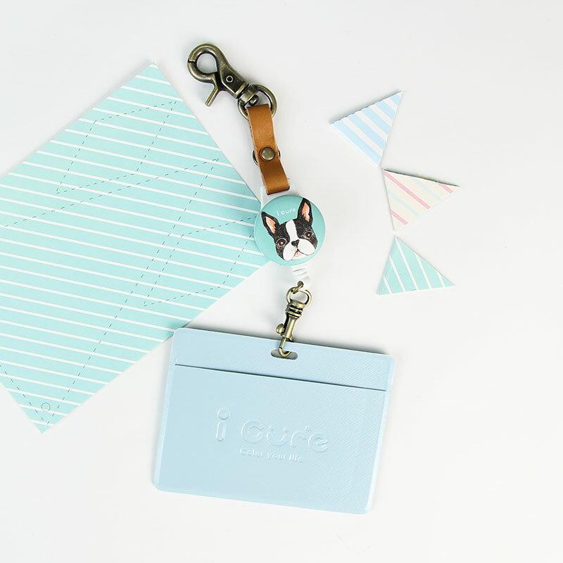 i 好鉤伸縮證件票卡夾-手繪風-波士頓 票卡夾 悠遊卡 動物 伸縮拉環 真皮 狗