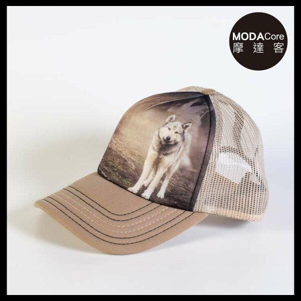 【摩達客】(預購)美國進口TheMountain灰狼凝視藝術棒球帽網帽5-Panel新五分割帽