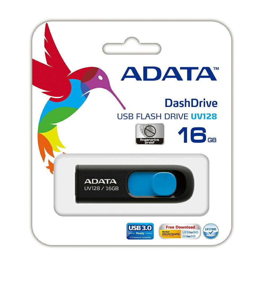 ADATA DashDrive UV128 Retractable Capless USB 3.0 Flash Drive 16GB Black/Blue (AUV128-16G-RBE) 1