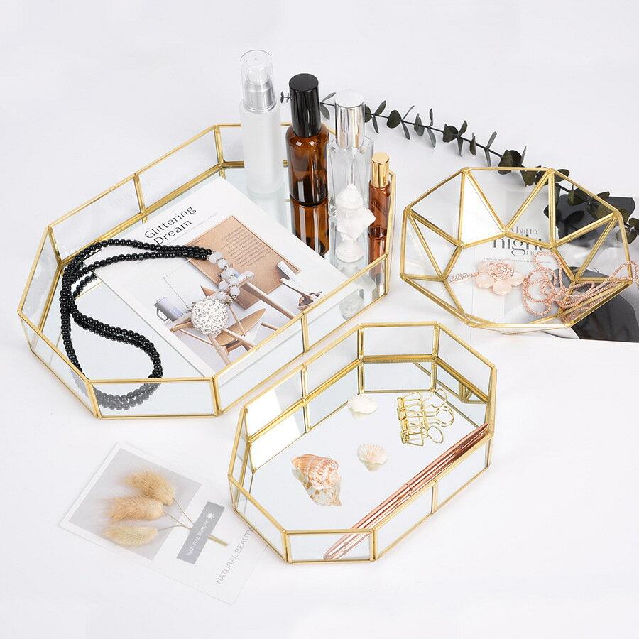 化妝品首飾收納盤桌面金色置物托盤玻璃幾何收納擺件