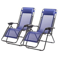 Set of 2 Zero Gravity Outdoor Patio Chairs - Blue