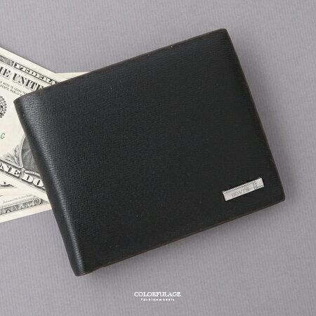 皮夾 簡約 黑色鐵牌對折短夾  款式   柒彩年代~NW449~硬挺 皮革 ~  好康折扣