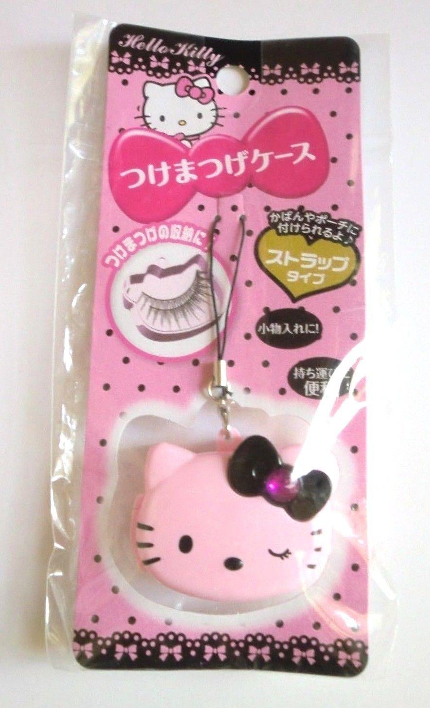 【真愛日本】15122500019造型收納盒-KT黑結眨眼粉   三麗鷗 Hello Kitty 凱蒂貓  假睫毛 收納盒  日本帶回