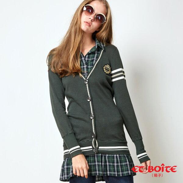 【秋冬精選】學院風格子拼接洋裝外套(綠)-BLUEWAYETBOiTE箱子