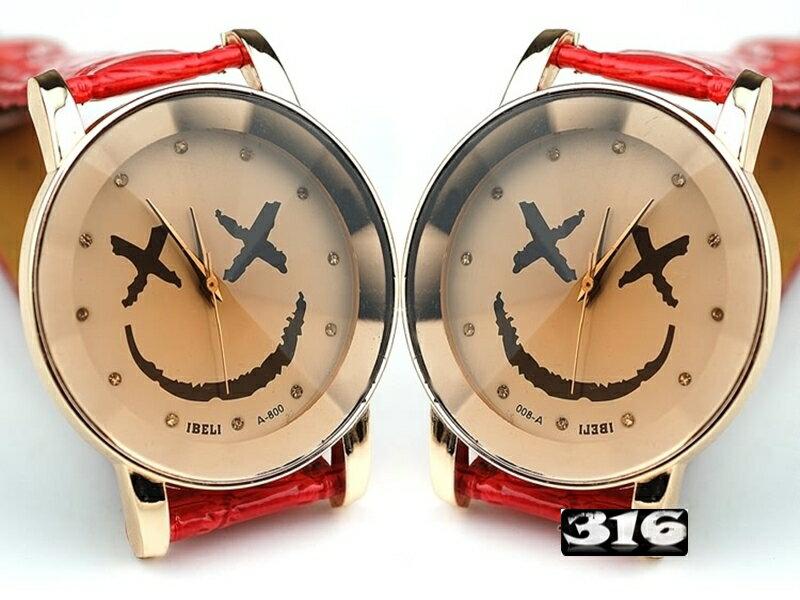 《316小舖》【PG37】(時尚石英手錶-笑臉皮錶-單件價 /中性手錶/學生手錶/生日禮物/韓版手錶/韓系手錶/韓式手錶/耶誕節禮物)