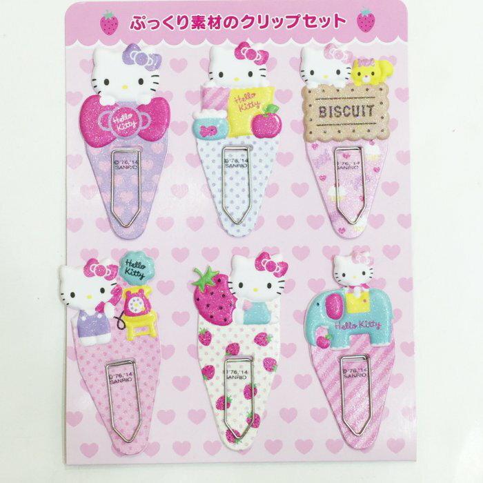 KITTY 書籤 6入 發泡材質 冰淇淋草莓 點點 餅乾 蝴蝶結 文具 正版日本進口 * JustGirl *