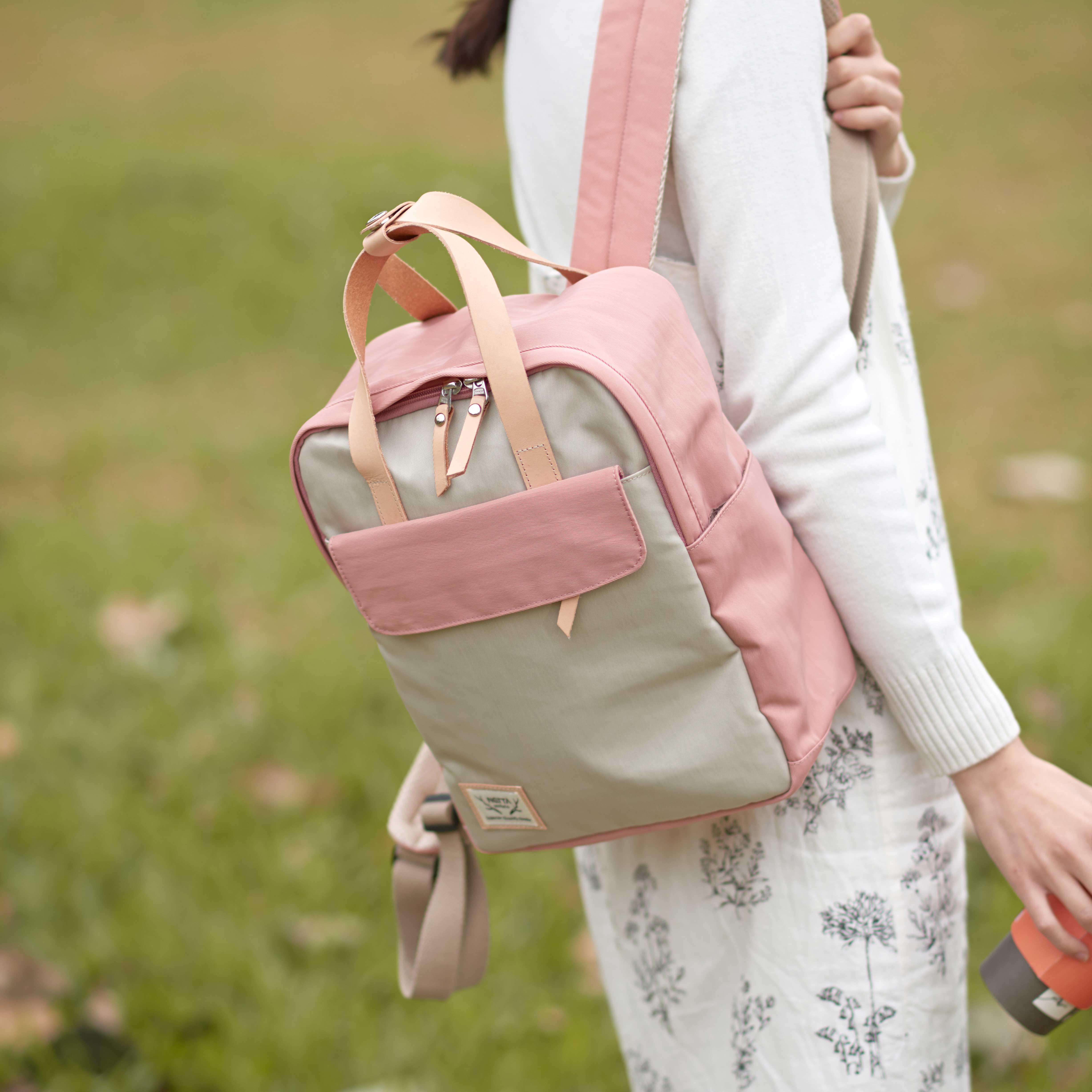 防潑水後背包 / 野餐系列 / 粉紅x米白 / 尺寸S號【NETTA】 3