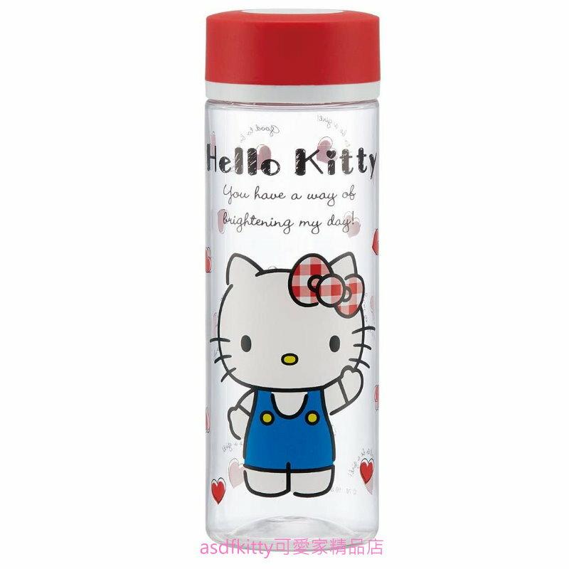 asdfkitty*KITTY紅愛心透明瓶身直飲水壺/隨手瓶-400ML-輕量好攜帶-PDC4-日本正版商品