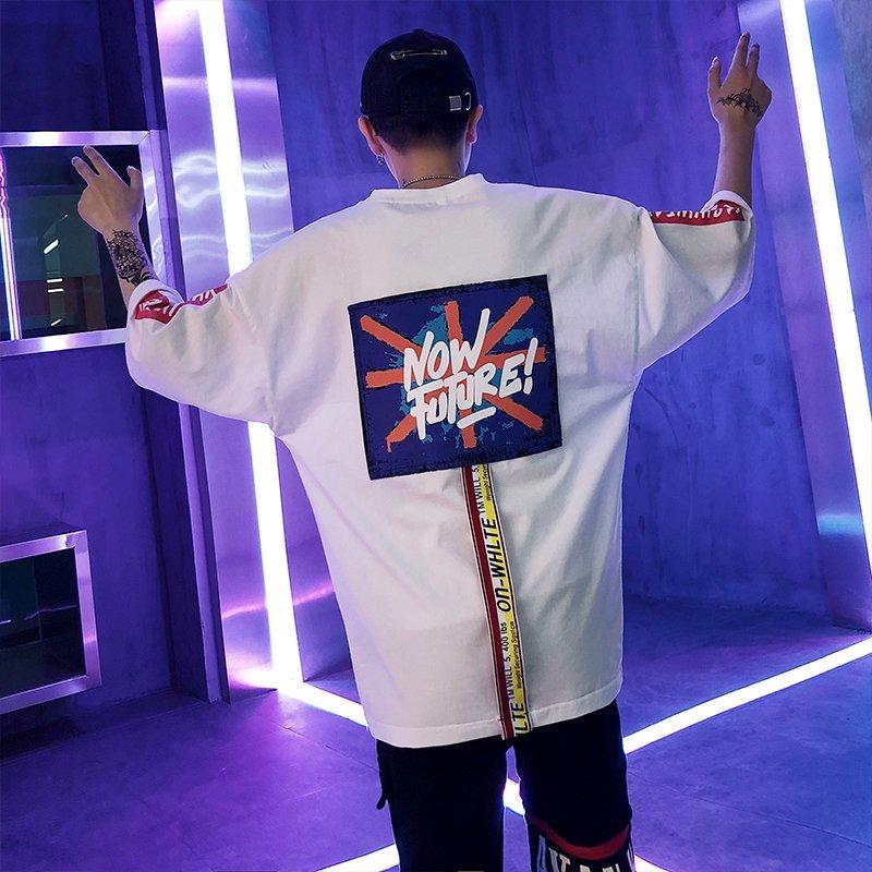 FINDSENSE2019 夏季 新款 韓國 街頭 嘻哈 撞色 拼接 字母印花 時尚 寬鬆 個性短袖 半袖T恤 潮男上衣