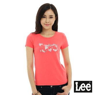 【短T單件390】 Lee 短袖T恤 白色花朵點綴文字印刷 -女款(粉紅橘)