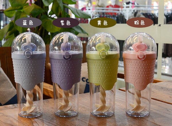 美琪戶外運動水壺創意吸管蛋白粉健身水杯便攜式單層塑料攪拌杯隨手杯