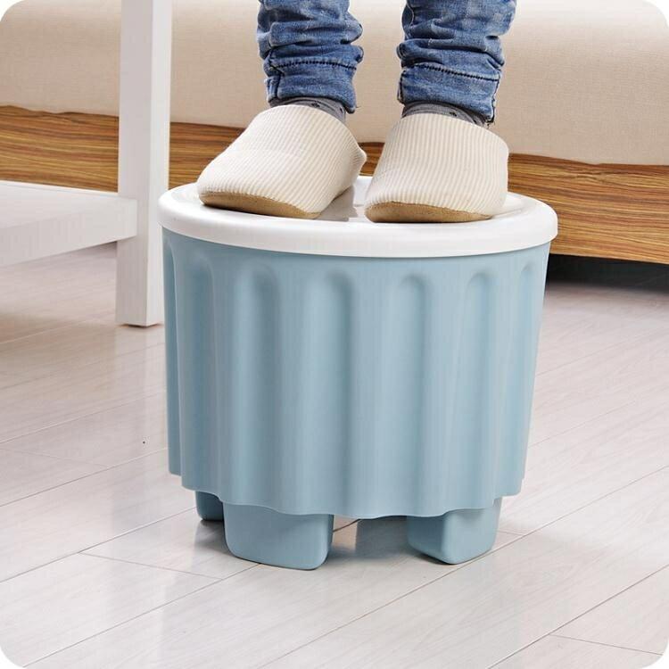 收納凳 可疊加收納凳兒童儲物凳換鞋凳多功能彩色收納凳子可坐人換鞋凳子jy