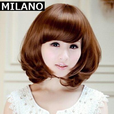 假髮整頂假髮短假髮~ 捲髮微彎斜瀏海女 4色73em17~ ~~米蘭 ~