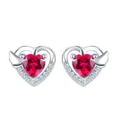 925純銀耳環水晶耳飾~高貴大方心型 生日情人節 女飾品73dz40~ ~~米蘭 ~