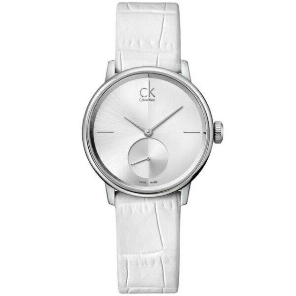 CK 日月光系列(K2Y231K6)小秒針質感銀時尚腕錶/白面32mm