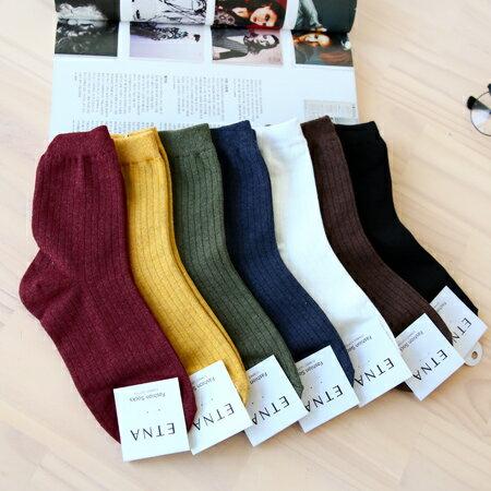 韓國 冬日色調素色實搭細坑條短襪 四分襪 素面百搭 學生襪 短襪 襪子 實穿【N201126】