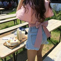 PS Mall 韓版甜美可愛蝴蝶結綁帶襯衫上衣 【T582】