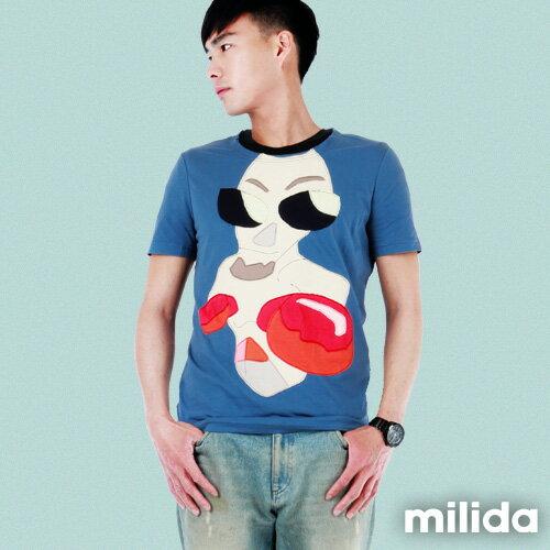 【Milida,全店七折免運】男生款-舒適圓領拼貼T恤 0