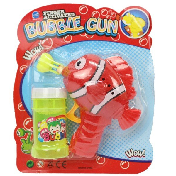 小丑魚泡泡槍+泡泡水(有黑紋)/一支入{促49} 環保泡泡槍 不用裝電池 手動泡泡槍 吹泡泡機 慣性泡泡槍~CF108259.奇