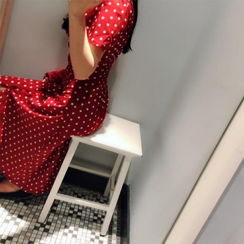 v領冷淡風紅色法式復古雪紡波點洋裝女 三角衣櫃