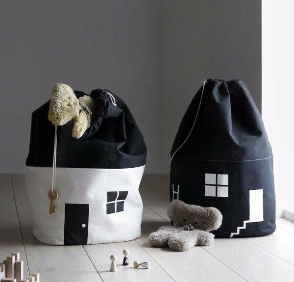 美國風2018新款房子收納袋寶寶純棉帆布束口黑白玩具收納掛袋