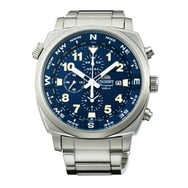 ORIENT東方錶HEAVYSPORT系列(FTT17002D)東方霸王專業方位判定石英錶藍色皮帶款45.5mm