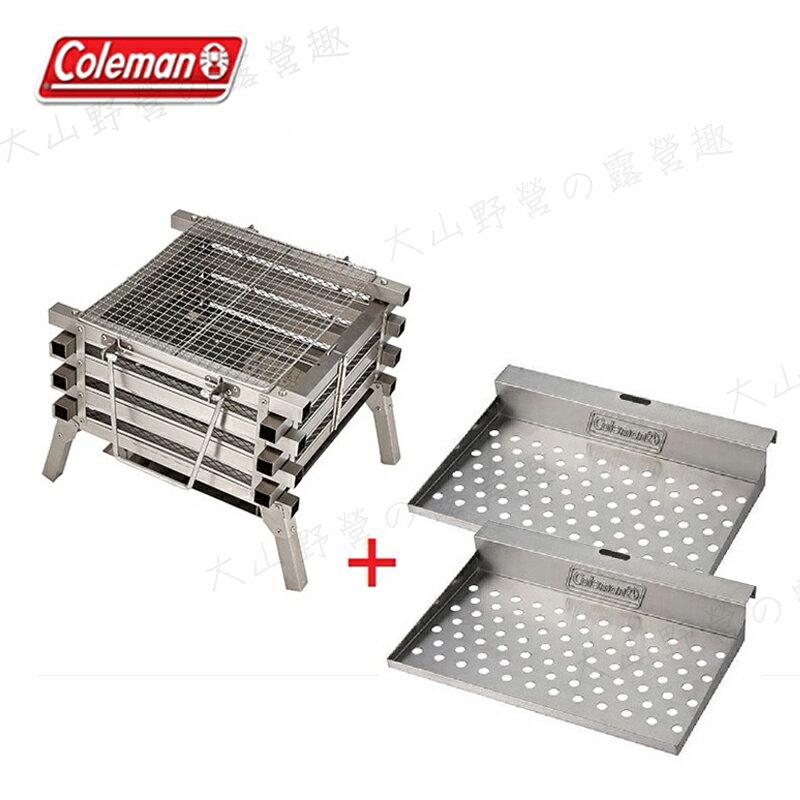 【露營趣】新店桃園 Coleman CM-23233不鏽鋼焚火台+CM-23500邊架 烤肉爐 烤肉架 變形金剛 露營 野營