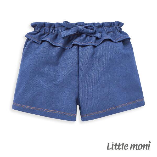 Littlemoni針織牛仔短褲-亮天藍