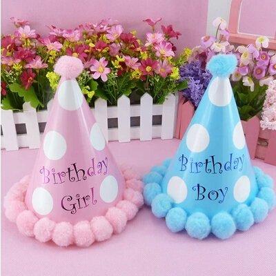 =優生活=生日派對帽 兒童寶寶主角帽子 韓式粉藍色款圓球圓點波點尖角紙帽 派對裝飾 生日紙帽