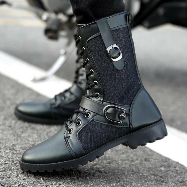 秋冬季馬丁靴黑色軍靴潮流韓版男士皮靴中幫工裝鞋短靴高幫男靴子  LN1012《小桃美衣》蝦皮上市《小桃美衣》新品上市