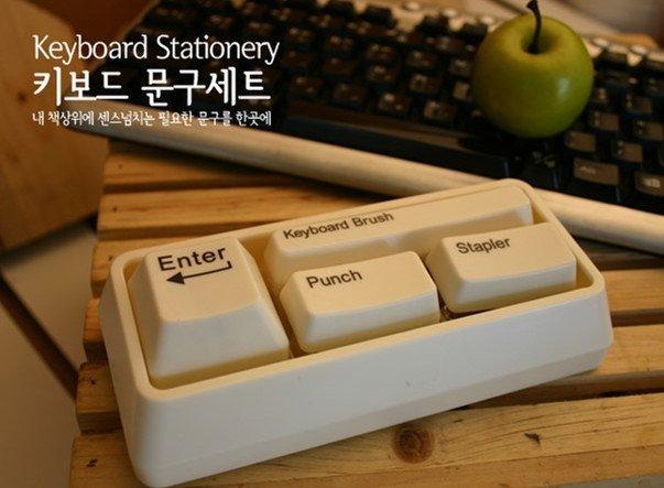 =優生活=韓國文具迷你鍵盤文具辦公套裝鍵盤釘書機 打孔器套裝 迴紋針吸鐵器 鍵盤清潔刷