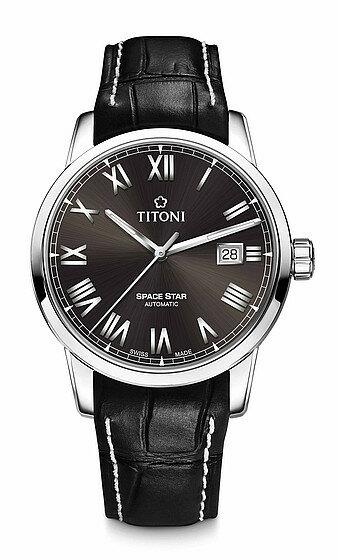 TITONI瑞士梅花錶天星系列83538S-ST-570經典羅馬腕錶/咖啡40mm