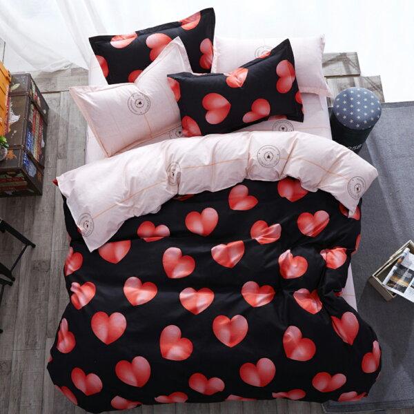 哇哇購:哇哇購個性印花三件式被套床包組單人遇見愛