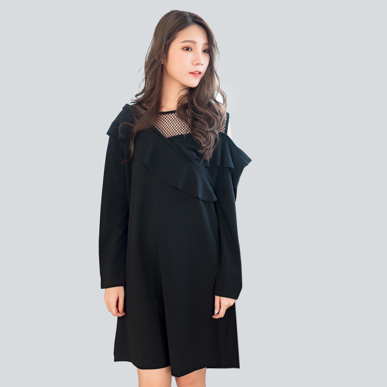 黑色洋裝--性感高雅網紗斜肩拼接荷葉口袋寬鬆修身長袖連衣裙(黑XL-3L)-A367眼圈熊中大尺碼 0