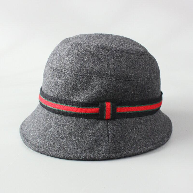 秋冬季含羊毛呢帽子女時尚百搭漁夫帽冬加厚保暖英倫風短檐盆帽女1入