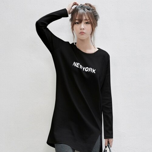 上衣 - 長版簡約設計下擺開衩長袖T恤【29149】藍色巴黎《2色》現貨 + 預購 1