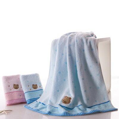 ☆浴巾 毛巾 三件套-可愛小熊圖案繡花無捻柔軟衛浴用品4色72t2【獨家進口】【米蘭精品】