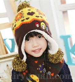 Kofairy◆秋冬保暖雪花大頭娃娃造型拚色毛球兒童毛絨帽+圍巾 2件套 - 咖啡色