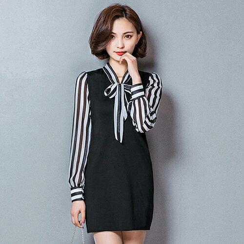 *ORead*蝴蝶結長袖修身顯瘦拼接條紋連身裙(黑色XL)
