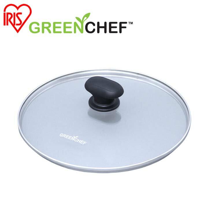 日本必買 免運/代購-日本IRIS OHYAMA/GREEN CHEF/ 鑽石塗層陶瓷鍋專用鍋蓋/24公分/GC-GL-24